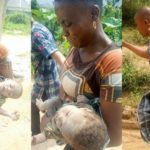 Suspected female kidnapper abducts little girl, ties her up inside bag of cement in Rivers (Photos)