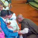 Dino Melaye prostrates before Oyedepo, spotted with Osinbajo, GEJ at Dunamis (PHOTOS)