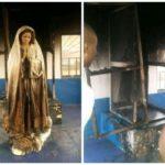 Nigerian lady sets Virgin Mary's statue ablaze in Enugu (PHOTOS)