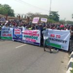 Breaking: Group storms Lagos Assembly, protests planned impeachment (PHOTOS)