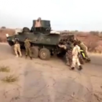 VIDEO: Nigerian Soldiers Push APC Armoured Tank On Battle Field
