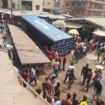 Container Falls Inside Onitsha Main Market In Anambra