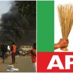 Hoodlums attack APC campaign rally in Abuja, burn nine vehicles (PHOTOS)