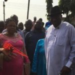 Goodluck Jonathan and wife cast their votes in Otuoke, Bayelsa.