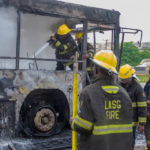 Serious Gridlock As Fire Guts Ogun Mass Transit Bus On Otedola Bridge (Photos)