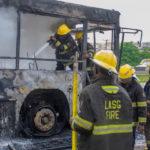 Serious Gridlock As Fire Guts Ogun Mass Transit Bus On Otedola Bridge (Photos)