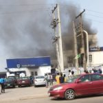 Smoke Billows Into The Sky After Fire Breaks Out At First Bank In Agege, Lagos (VIDEO)