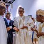 PHOTOS: Obasanjo and President Buhari All Smiles As They Meet in Senegal