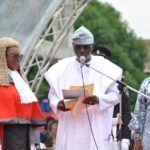 Mr. Babajide Olusola Sanwo-Olu taking the oath of office as he is sworn in as the 6th Civilian Governor of the Center of Excellence, Lagos State (photos)