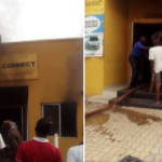 PHOTOS: Nigerians Set MTN Office On Fire In Lagos