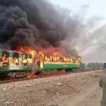 Pakistani train on fire, kills at least 65