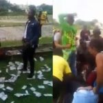 ABSU Students Rush To Pick Money Sprayed On A Girl By Her Boyfriend (Video & Photos)