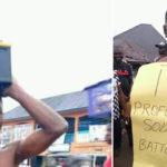 PHOTOS: Mob Parade Solar Light Battery Thief In Bayelsa