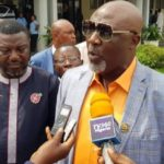 VIDEO: Dino Melaye Arrives INEC Office With 21 Video Clips, Demand Cancellation Of Kogi West Rerun Election