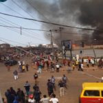 Breaking News: Tears Flow Bitterly As Fire Guts Ekiosa Market In Benin