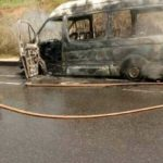 Bus loaded with passengers catches fire