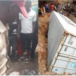 PHOTOS: Three Killed As Container Falls Into Pit In Anambra