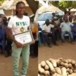 Residents Of Benue Community Celebrate Corps Member, Gift Her Tubers Of Yam For Erecting Borehole (photos)