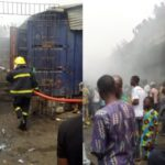 Photos From Scene Of The Fire That Razed Popular Apongbon Market In Lagos