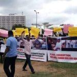 PHOTOS: Protesters Storm Abuja, Demand Immediate Arrest Of Tinubu Over Bullion Van Saga