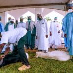 PHOTOS: Buhari Caught On Camera Observing Closely As 'Sallah Ram' Is Slaughtered For Celebration