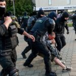 Police in Belarus detained more than 350 people at Sunday's protests