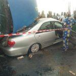 Trailer Falls On A Car At Cele Bus Stop, Lagos (Photos)