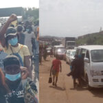EndSARS Protesters Shut Down Iwo Road, Causing Gridlock (photos)