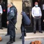 French policemen see big calabash of sacrifice outside Nigerian embassy (photos & video)