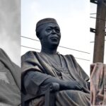 Photos: Hoodlums steals Obafemi Awolowo's glasses from his statue in Lagos