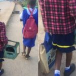 Viral Photos Of Student Going To School With A Stove To Be Used As A Chair In Class