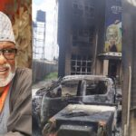 Thugs raze down Governor Akeredolu's campaign office in Akure (Photos)