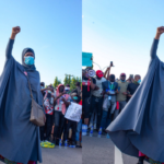 Police officers shoot at Aisha Yesufu during #EndSARs protest in Abuja