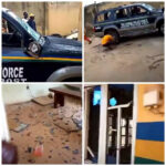 #EndSARS Protesters Vandalize Police Stations In Ogun, Cart Away TVs And Other Valuables (video)
