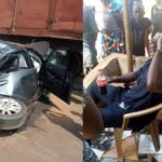 Photos: Man And His Son Come Out Unscratched From Totally Squeezed Car After Ghastly Motor Accident In Enugu, Netizens React.