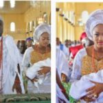Ooni of Ife And Prophetess Queen Dedicate Their Newborn Prince to God Inside Church (Photos)