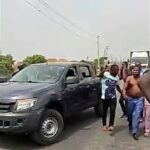 PHOTOS & VIDEO: DSS, Security Operatives Attempt to Arrest Sunday Igboho on Lagos/Ibadan Expressway