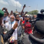 #OccupyLekkiTollGate: Moment Lagos Commissioner Of Police Arrives Lekki Toll Gate [Video]