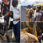 Man Dies, Others Injured As Commercial Bus Tumbles After Its Tyre Burst While Driving On Top Speed In Lagos (Photos)