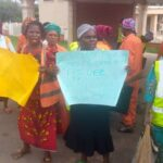 Photos: Ekiti street sweepers protest N5,000 monthly stipends, demand N30,000 minimum wage