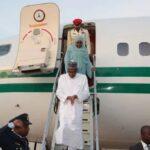 BREAKING: Buhari arrives Maiduguri International Airport over national security (photos)