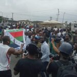 BREAKING: Police disperse Yoruba Nation protesters with tear gas, water cannon in Lagos