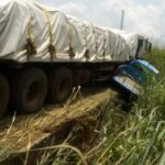 FRSC Personnel Spared From Fatal Crash As Cement Laden Trailer Rams Into Patrol Van (Photos)