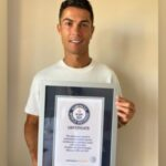 Cristiano Ronaldo Poses With His Guinness World Record Certificate For Most Goals in International Football