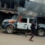 BREAKING: Unknown Gunmen kill 3 police officers, burn Van in Anambra (PHOTOS)